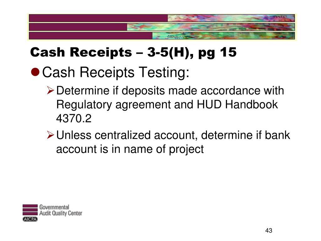 Cash Receipts – 3-5(H), pg 15