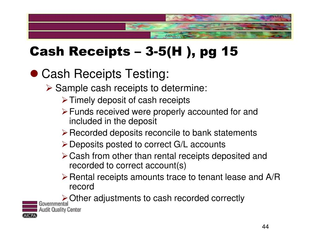 Cash Receipts – 3-5(H ), pg 15