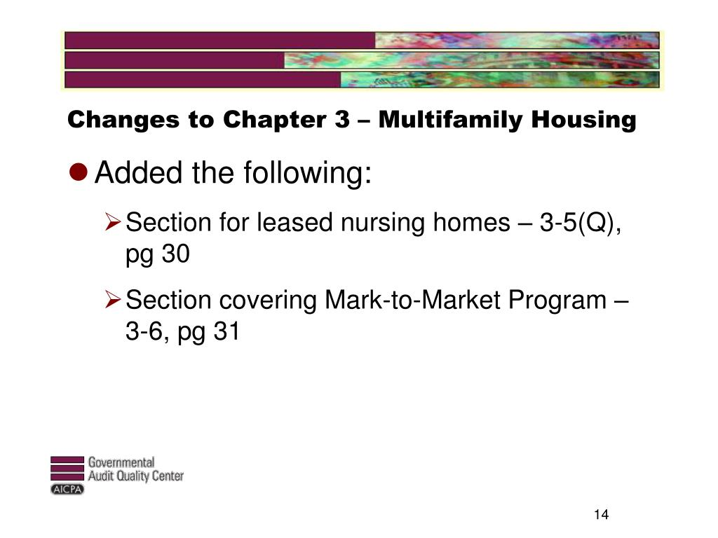 Changes to Chapter 3 – Multifamily Housing
