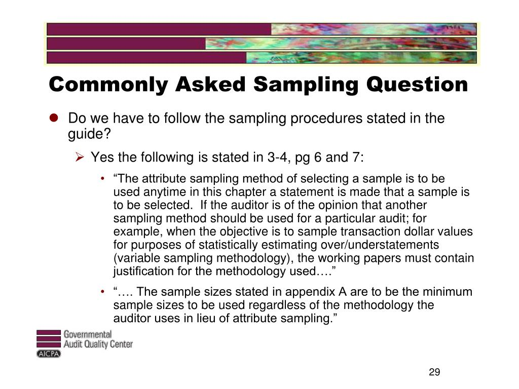 Commonly Asked Sampling Question