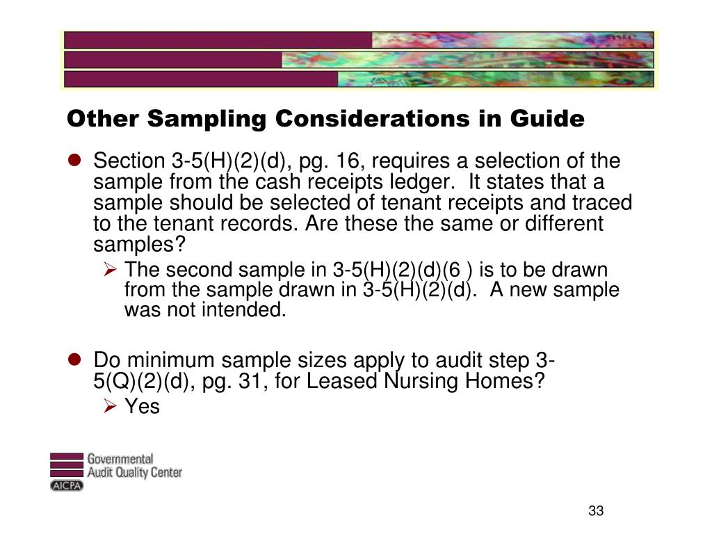Other Sampling Considerations in Guide