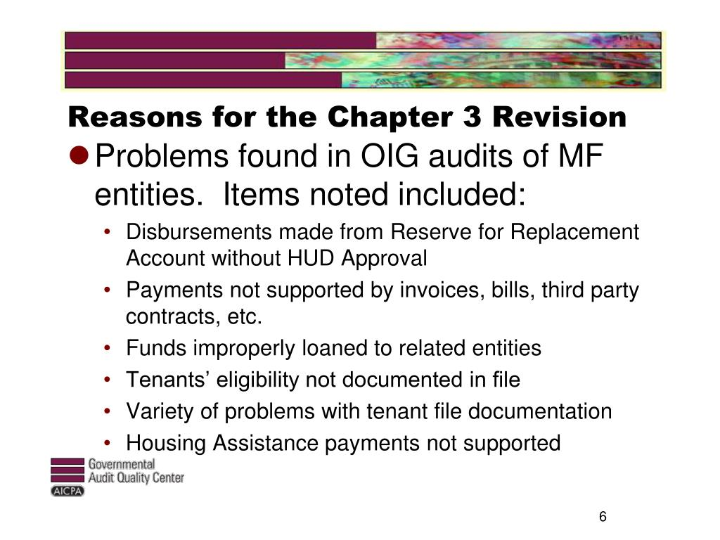 Reasons for the Chapter 3 Revision