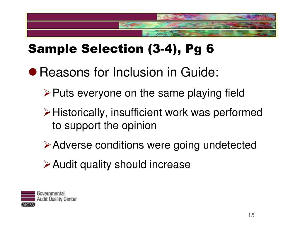 Sample Selection (3-4), Pg 6