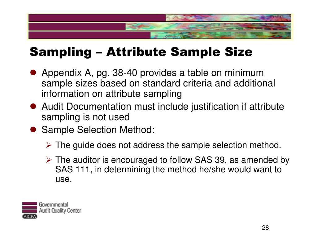 Sampling – Attribute Sample Size