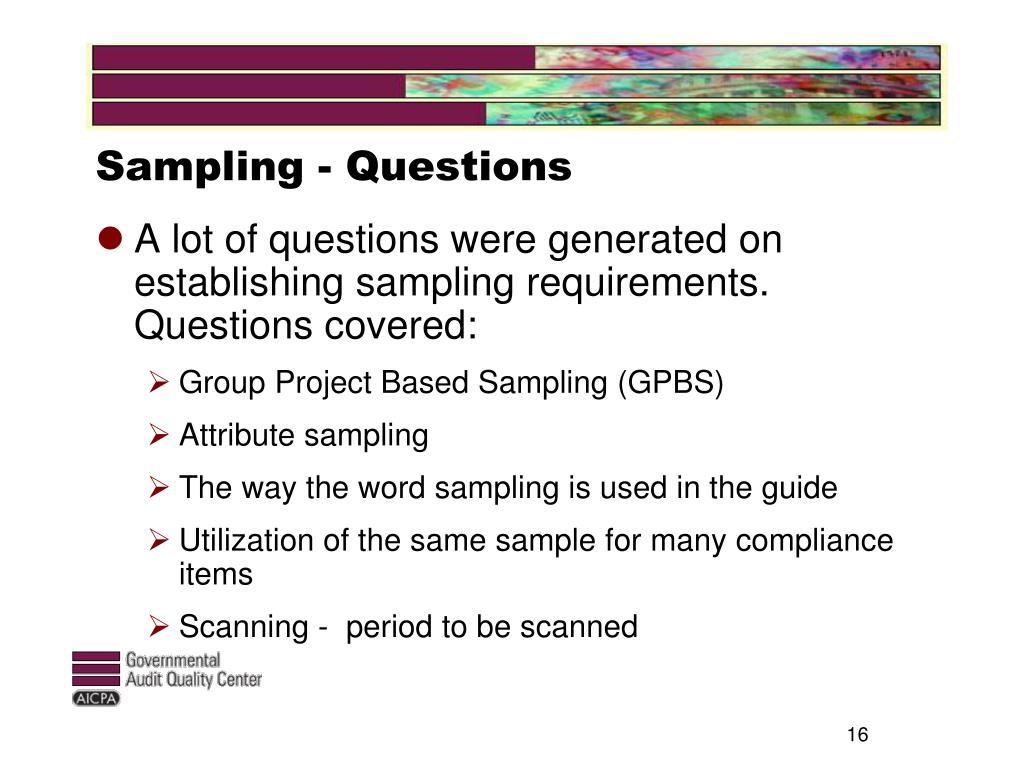 Sampling - Questions