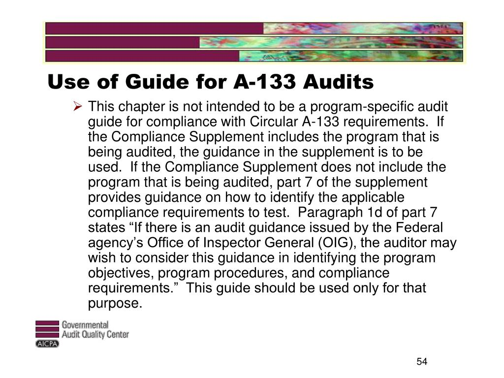 Use of Guide for A-133 Audits