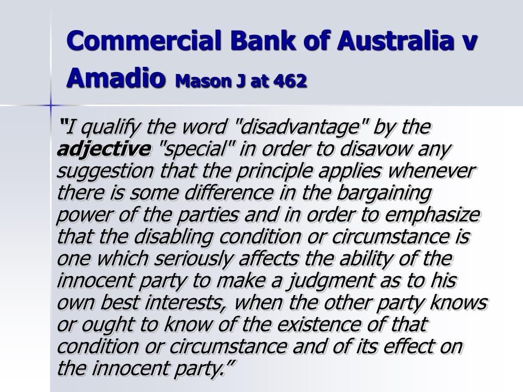 Commercial Bank of Australia v Amadio