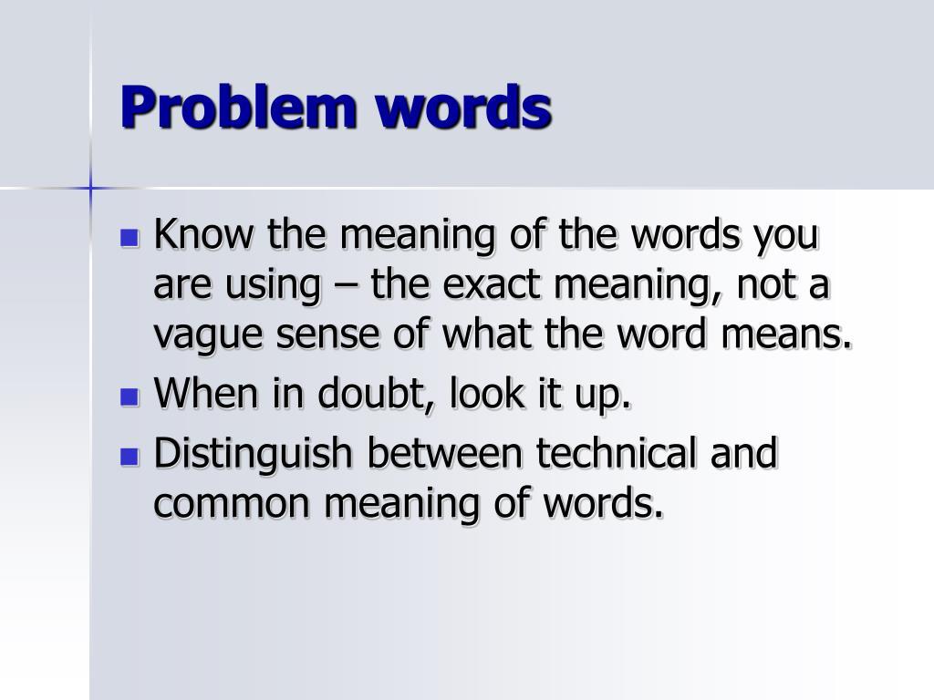 Problem words