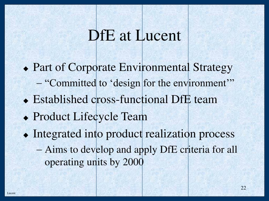 DfE at Lucent