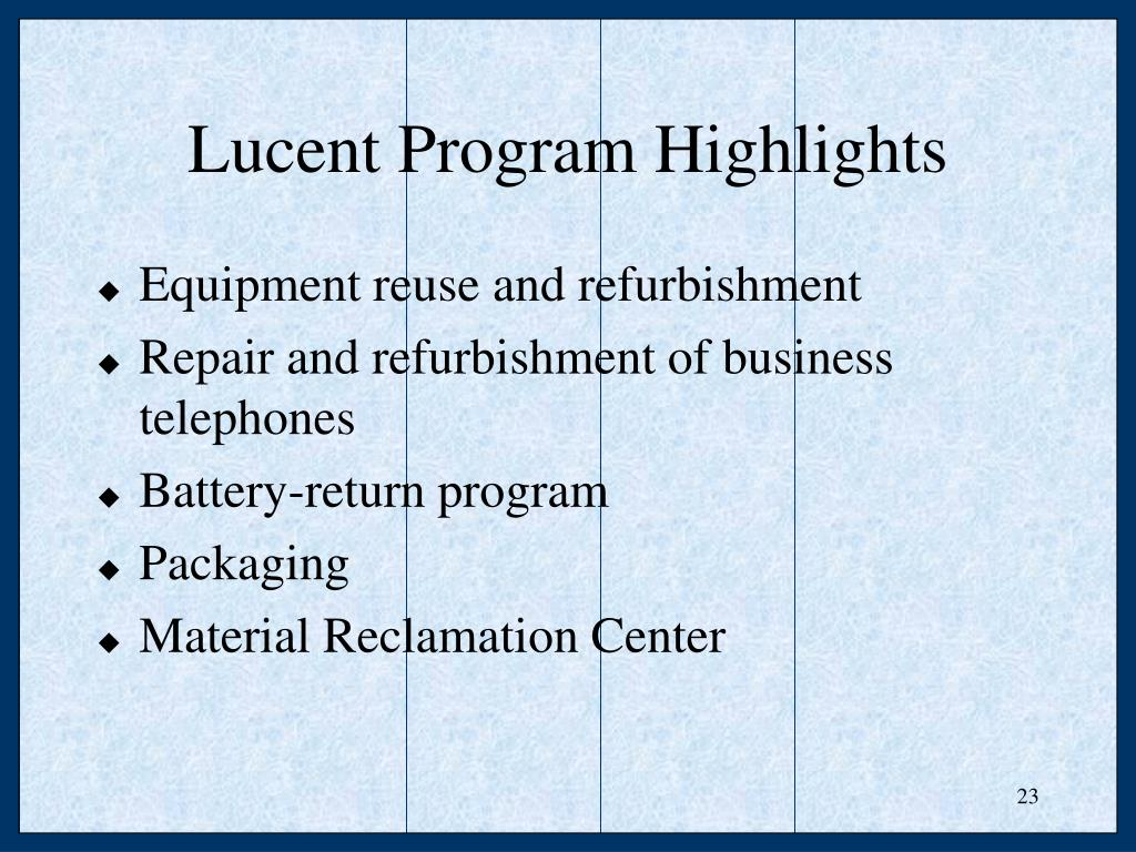Equipment reuse and refurbishment