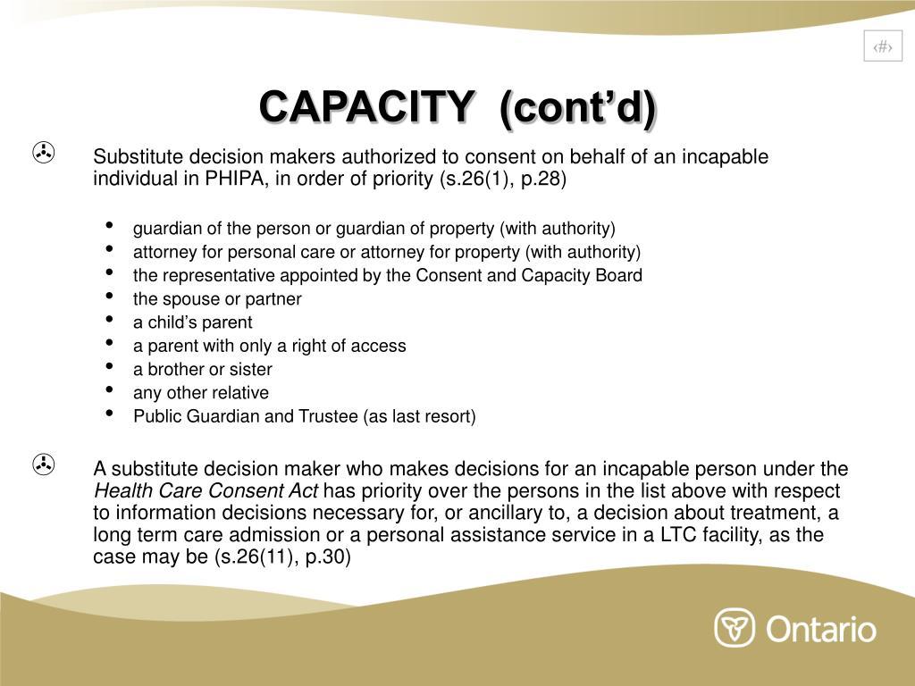 CAPACITY  (cont'd)