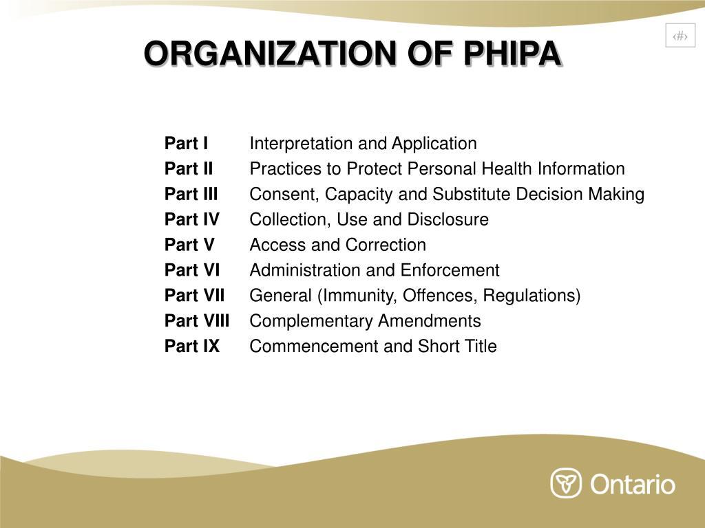 ORGANIZATION OF PHIPA