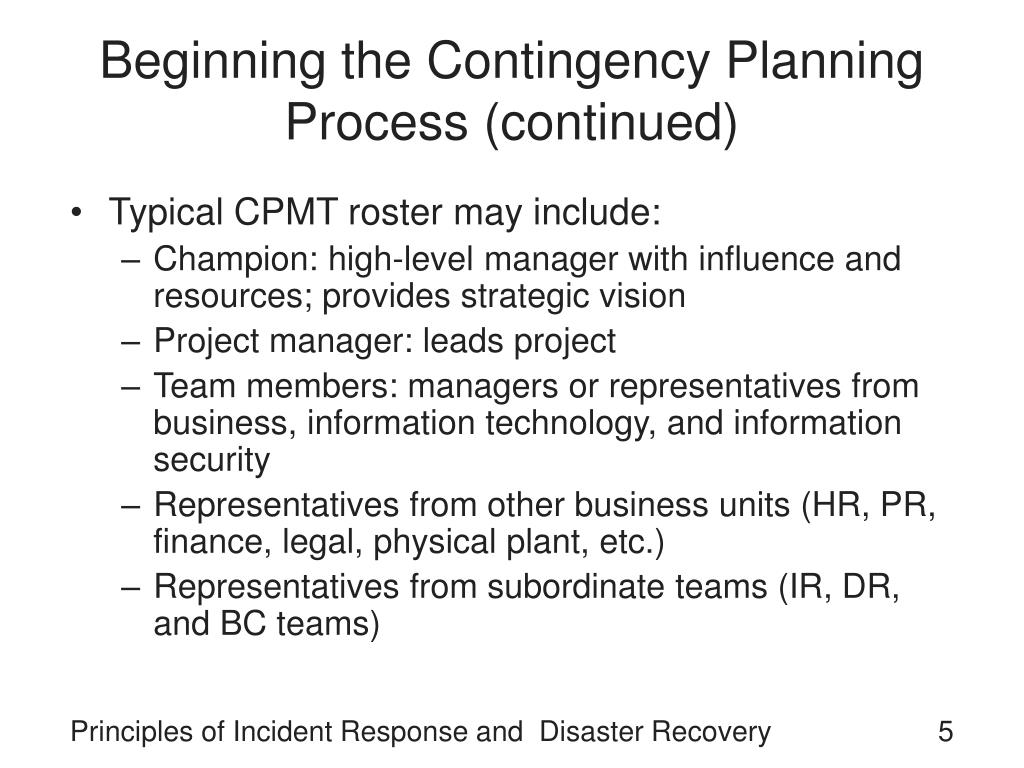 Beginning the Contingency Planning Process (continued)