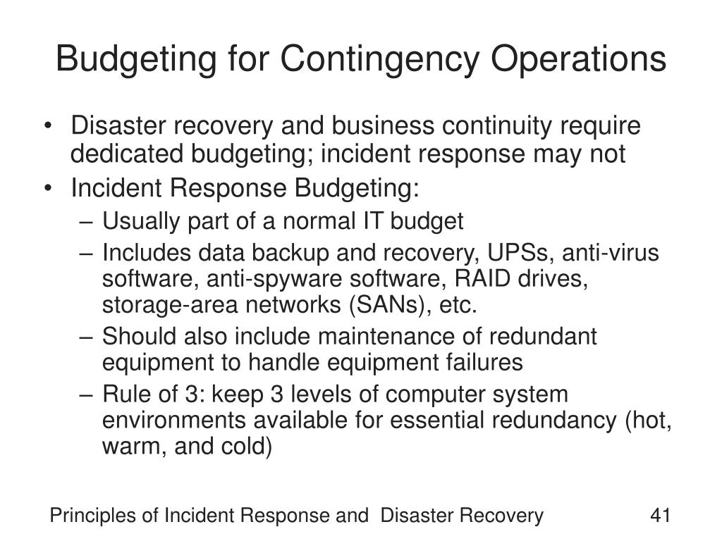 Budgeting for Contingency Operations