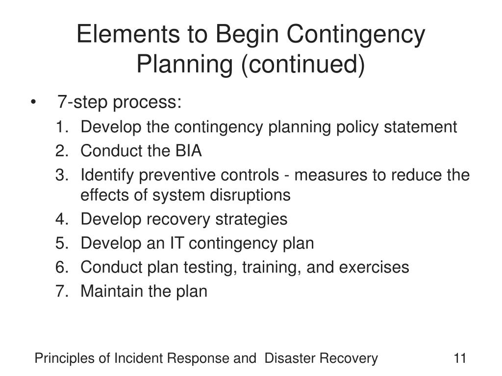 Elements to Begin Contingency Planning (continued)
