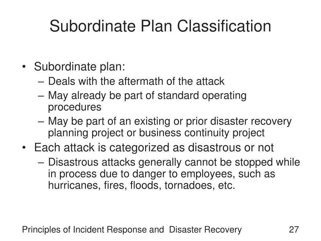 Subordinate Plan Classification