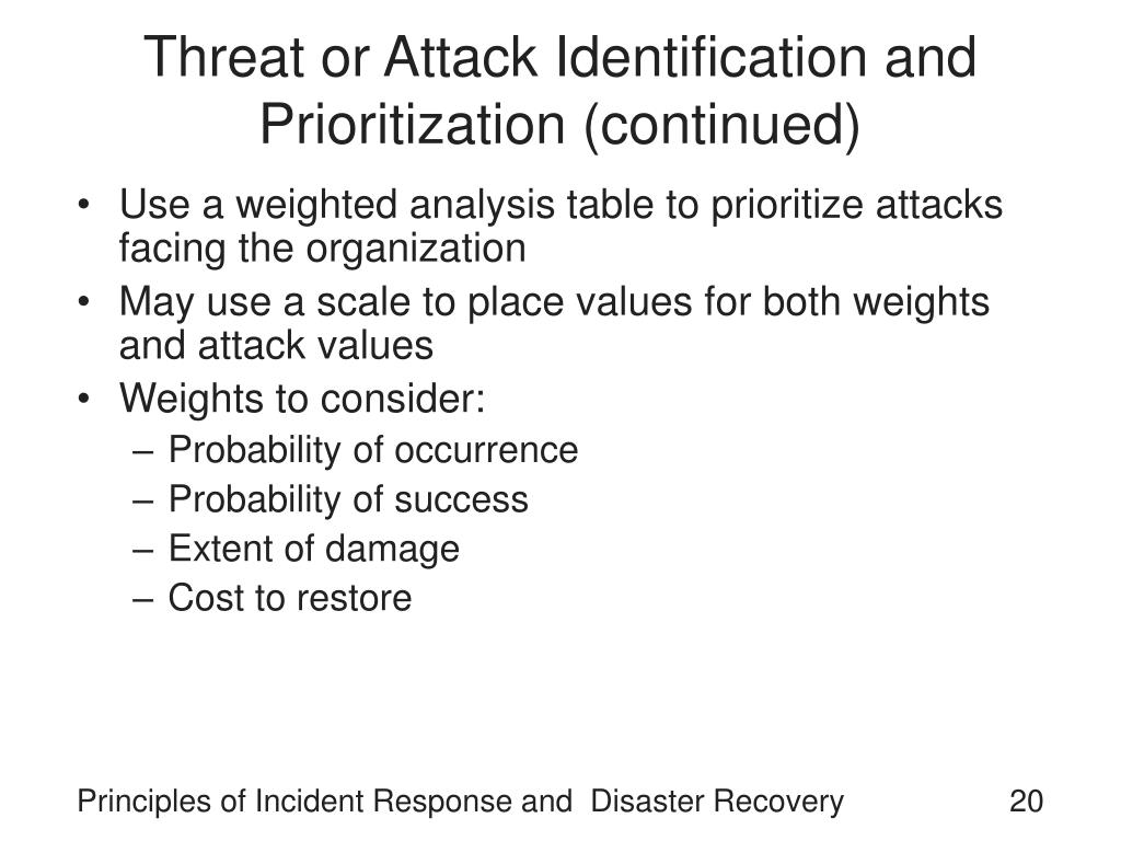 Threat or Attack Identification and Prioritization (continued)