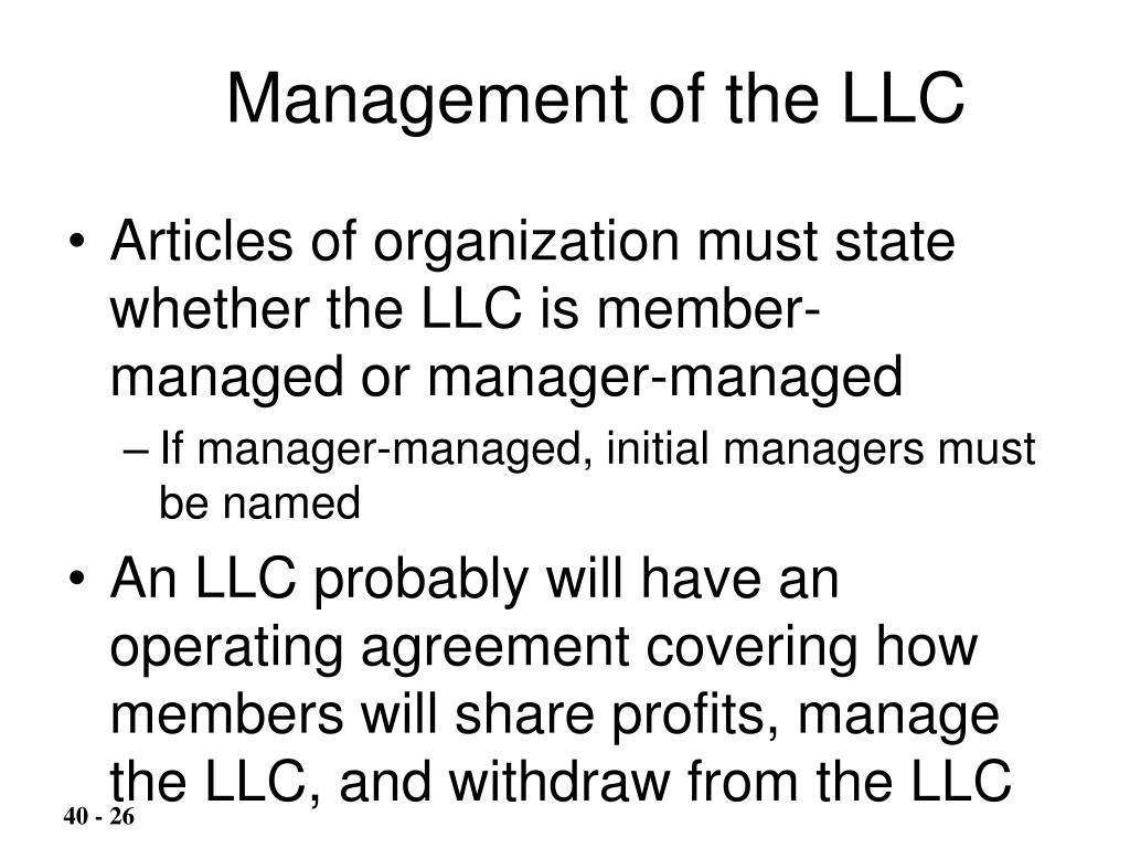 Management of the LLC