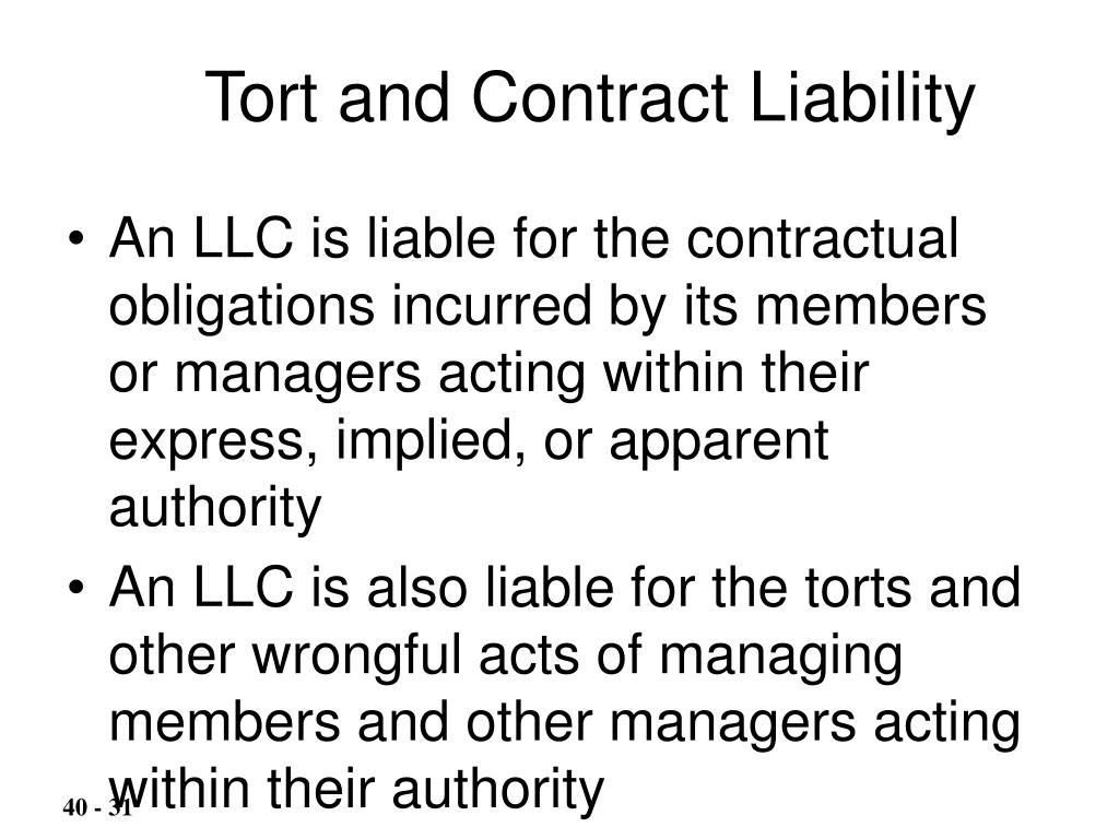 Tort and Contract Liability