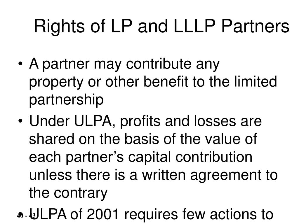 Rights of LP and LLLP Partners