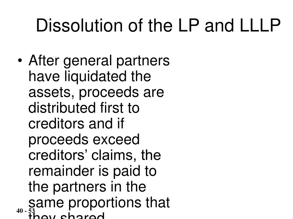 Dissolution of the LP and LLLP