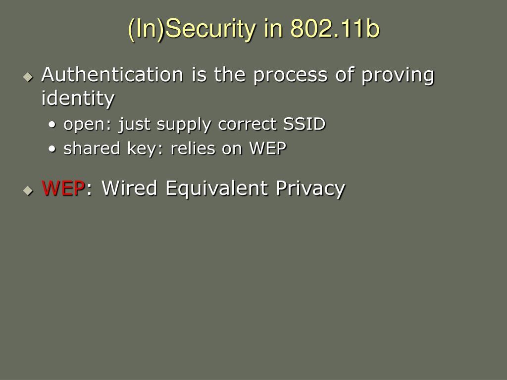 (In)Security in 802.11b