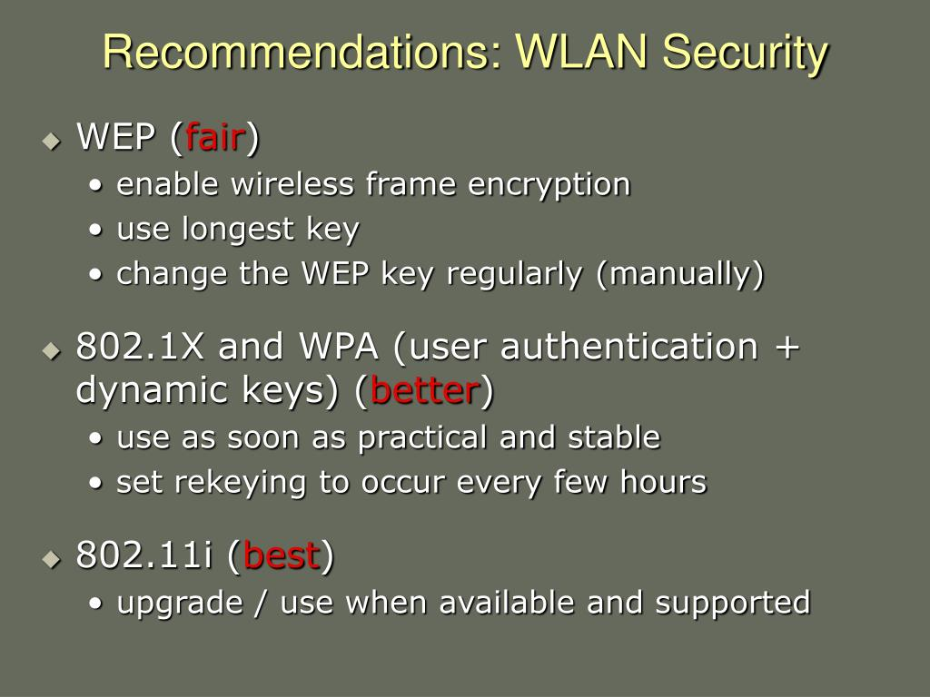 Recommendations: WLAN Security