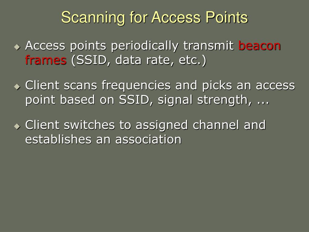 Scanning for Access Points