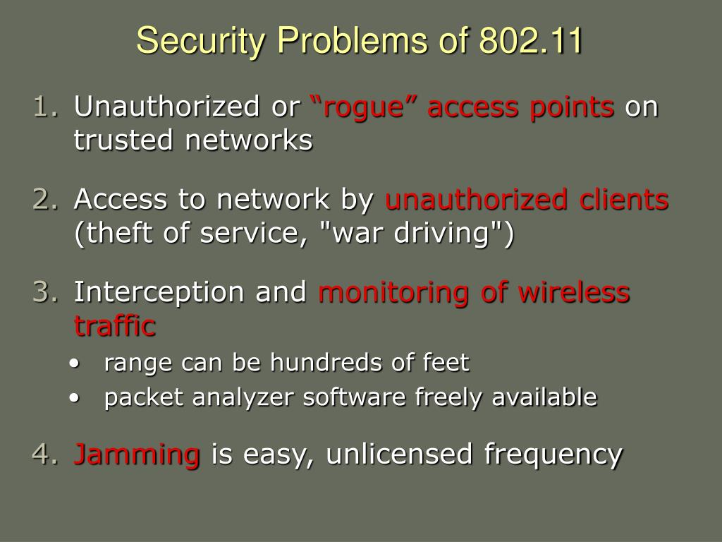 Security Problems of 802.11