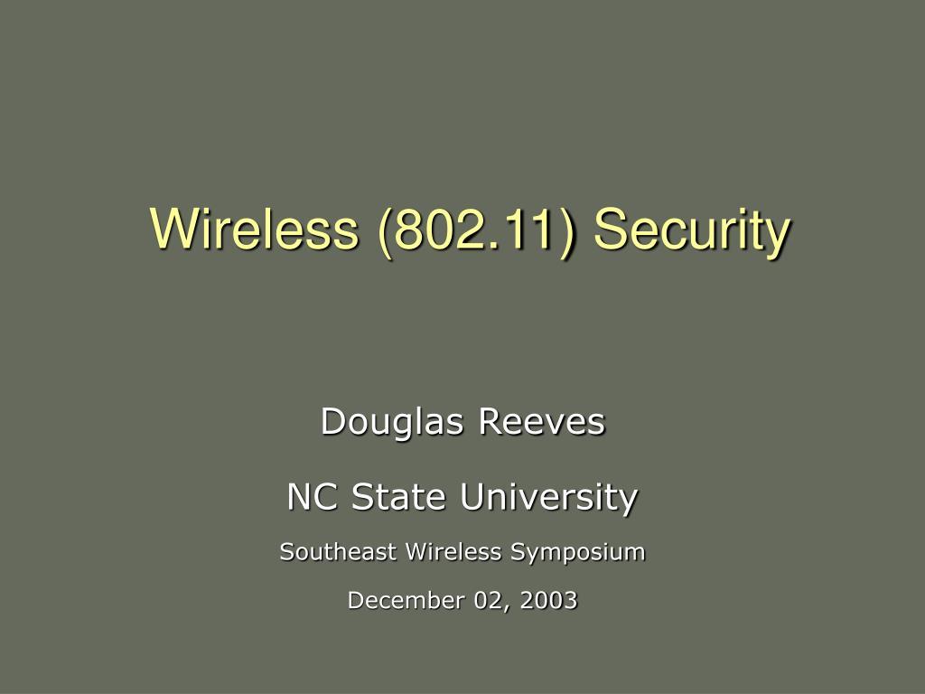 Wireless (802.11) Security