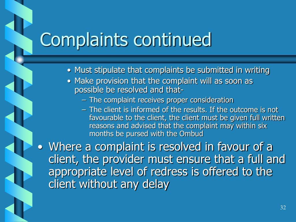 Complaints continued