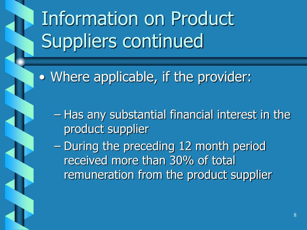 Information on Product Suppliers continued