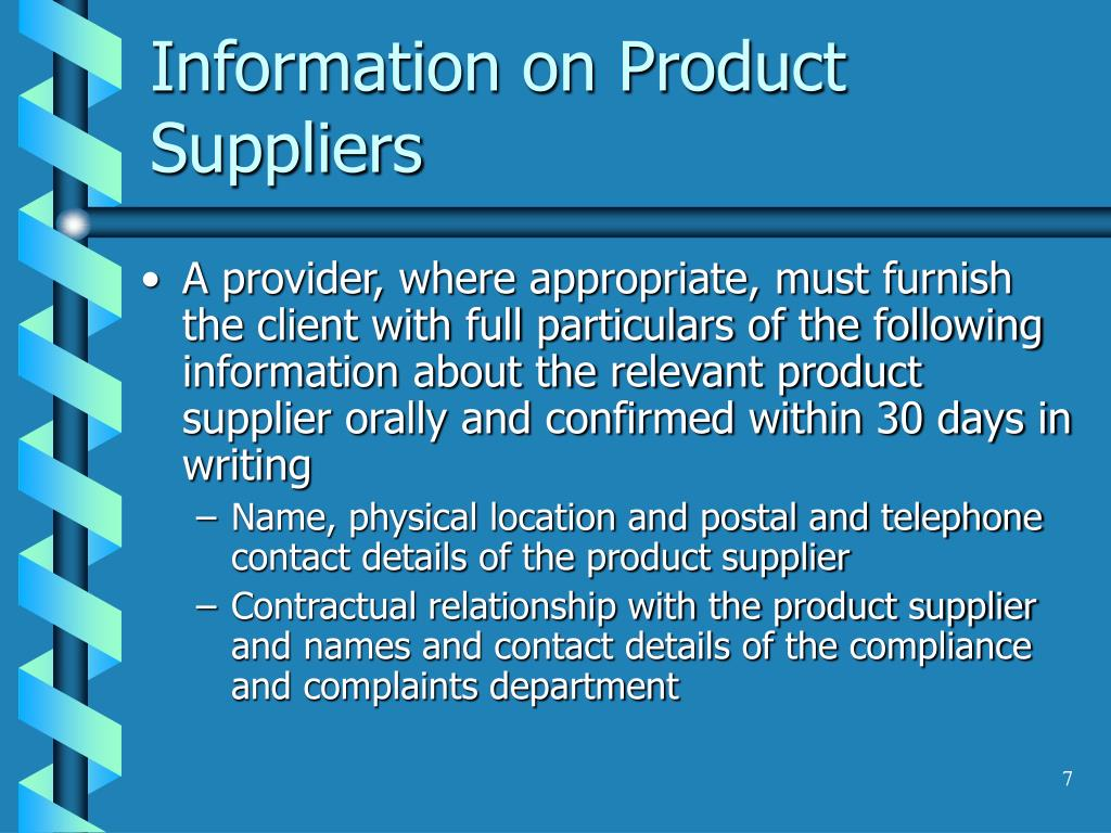 Information on Product Suppliers