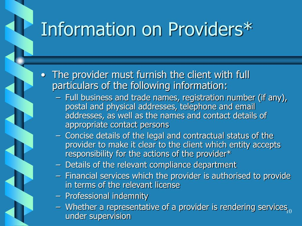 Information on Providers*