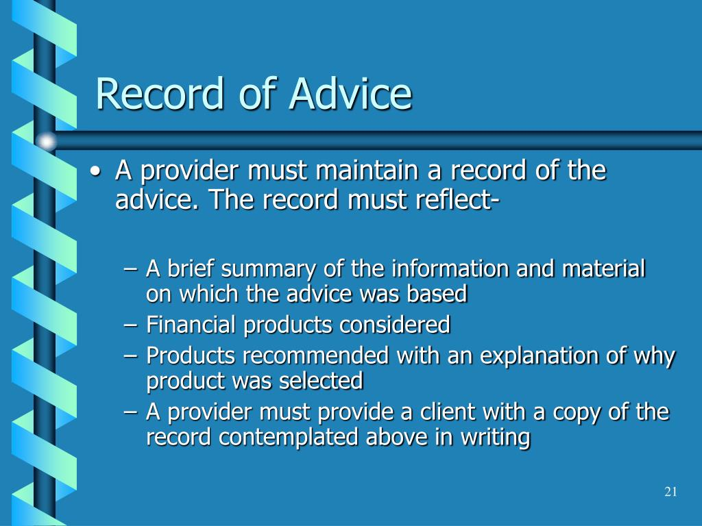Record of Advice