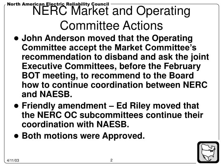 Nerc market and operating committee actions
