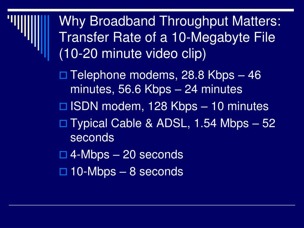 Why Broadband Throughput Matters: Transfer Rate of a 10-Megabyte File (10-20 minute video clip)