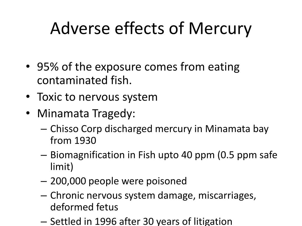 Adverse effects of Mercury