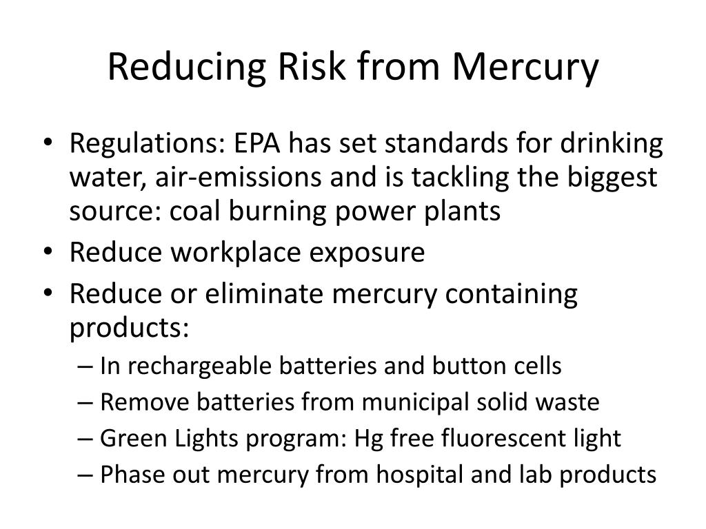 Reducing Risk from Mercury