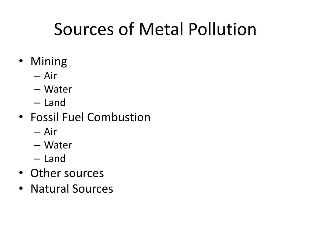 Sources of Metal Pollution
