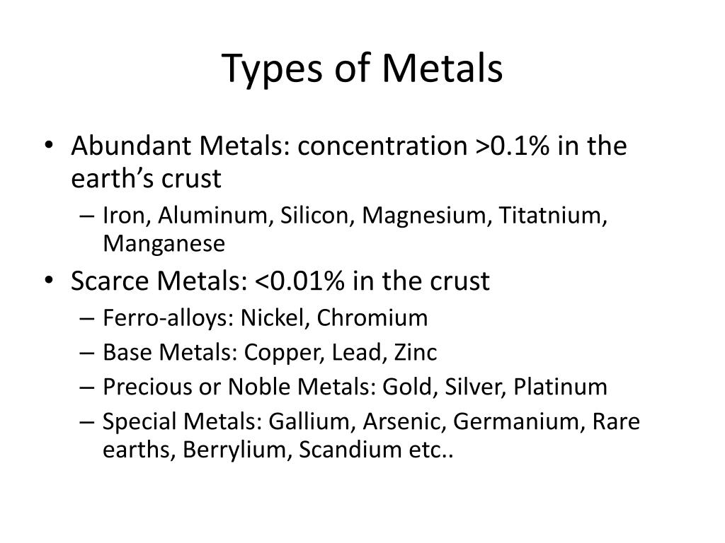 Types of Metals