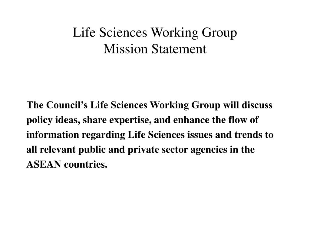 Life Sciences Working Group
