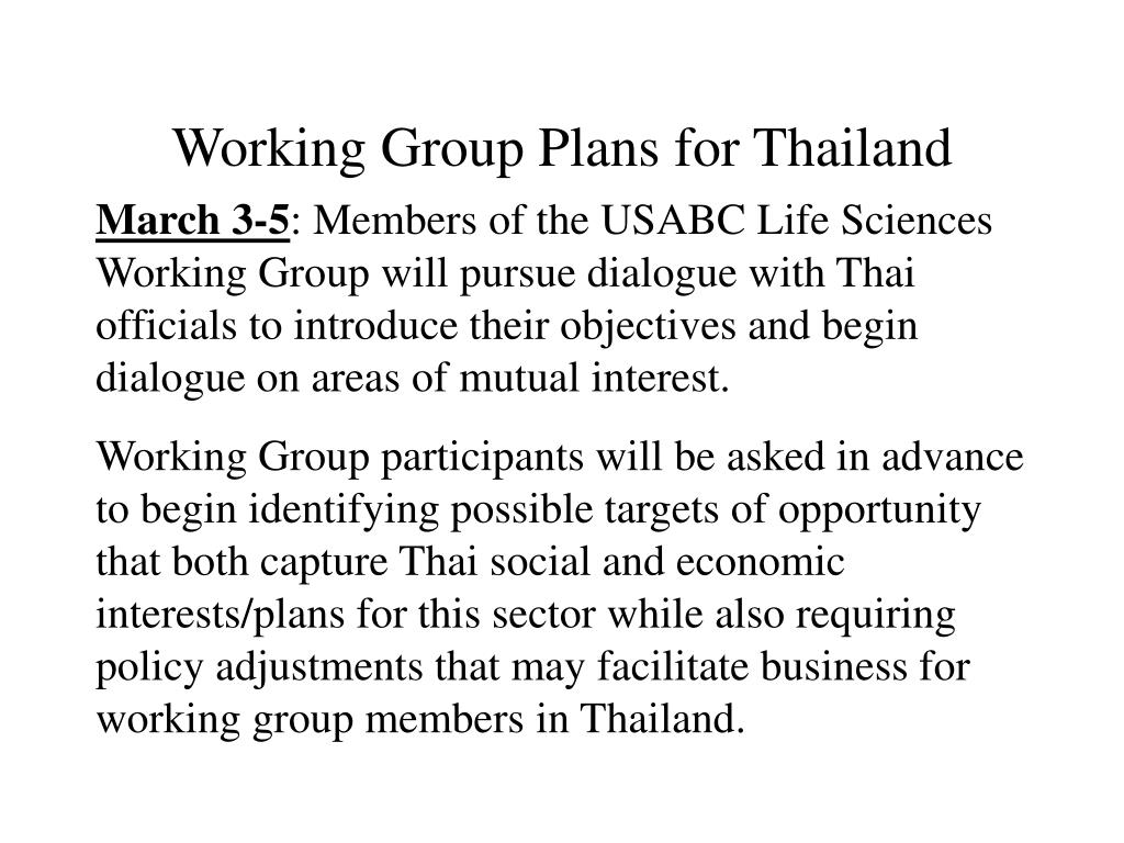 Working Group Plans for Thailand
