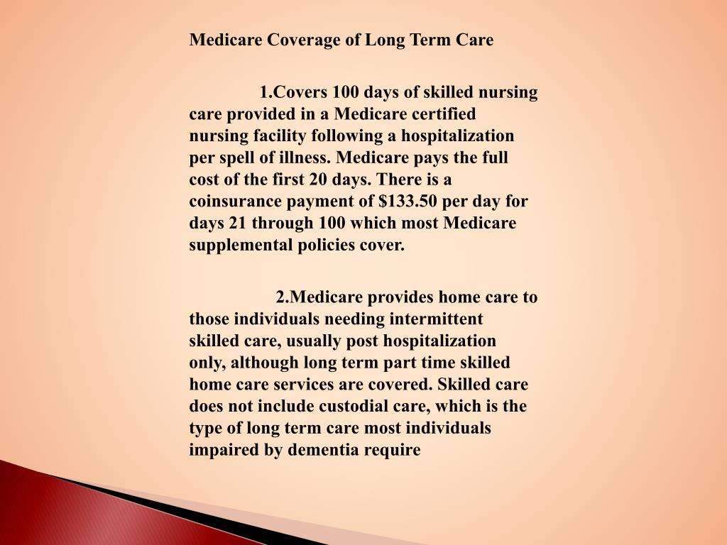 Medicare Coverage of Long Term Care