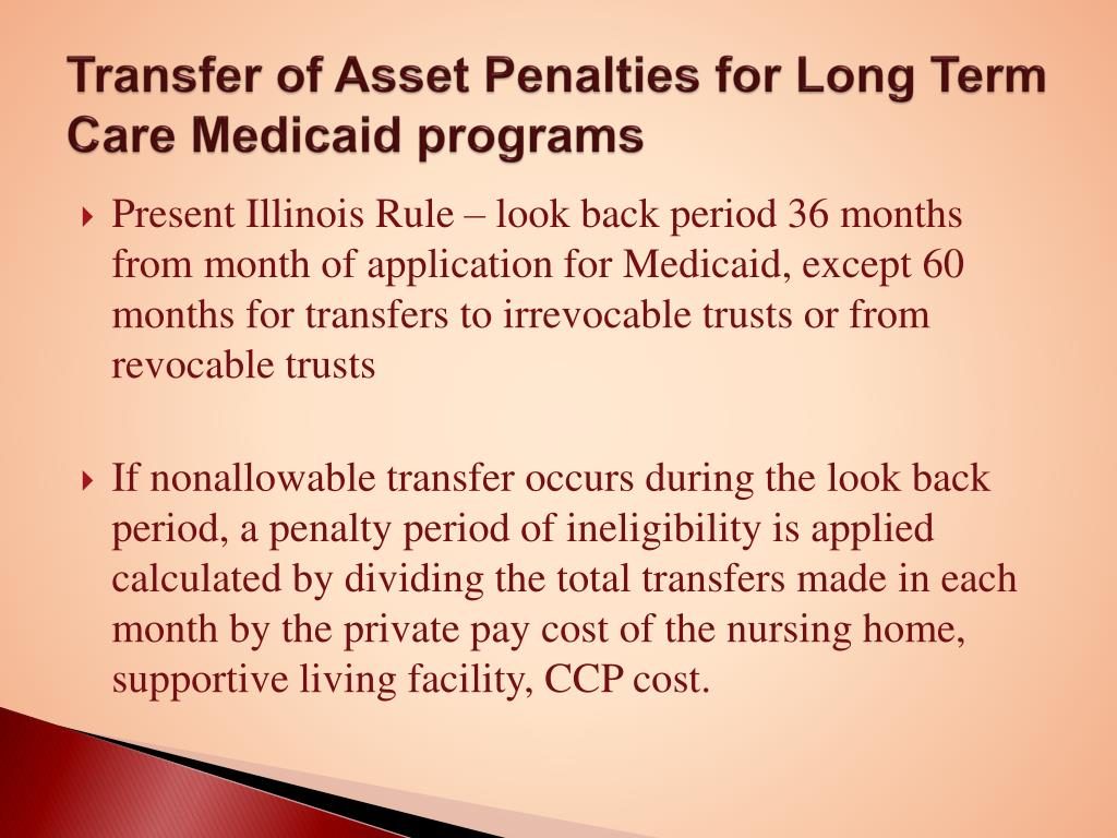 Transfer of Asset Penalties for Long Term Care Medicaid programs