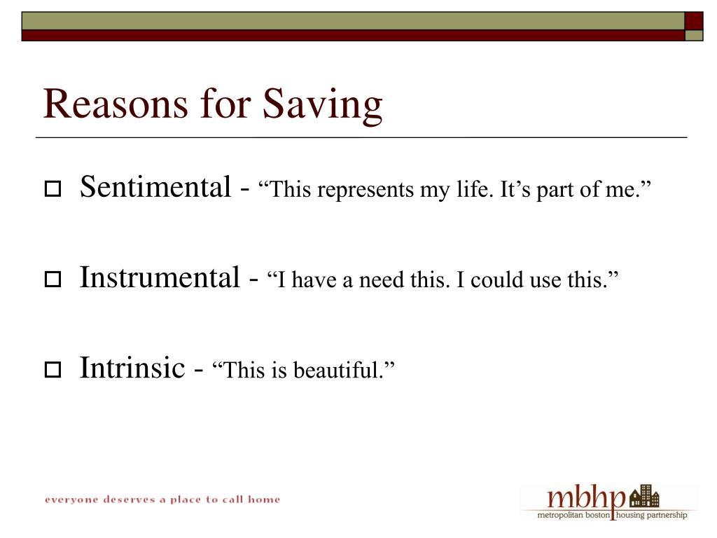 Reasons for Saving