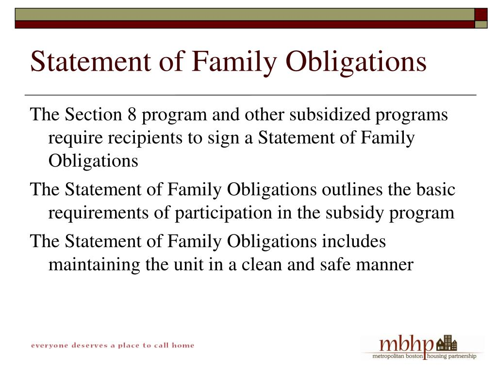 Statement of Family Obligations