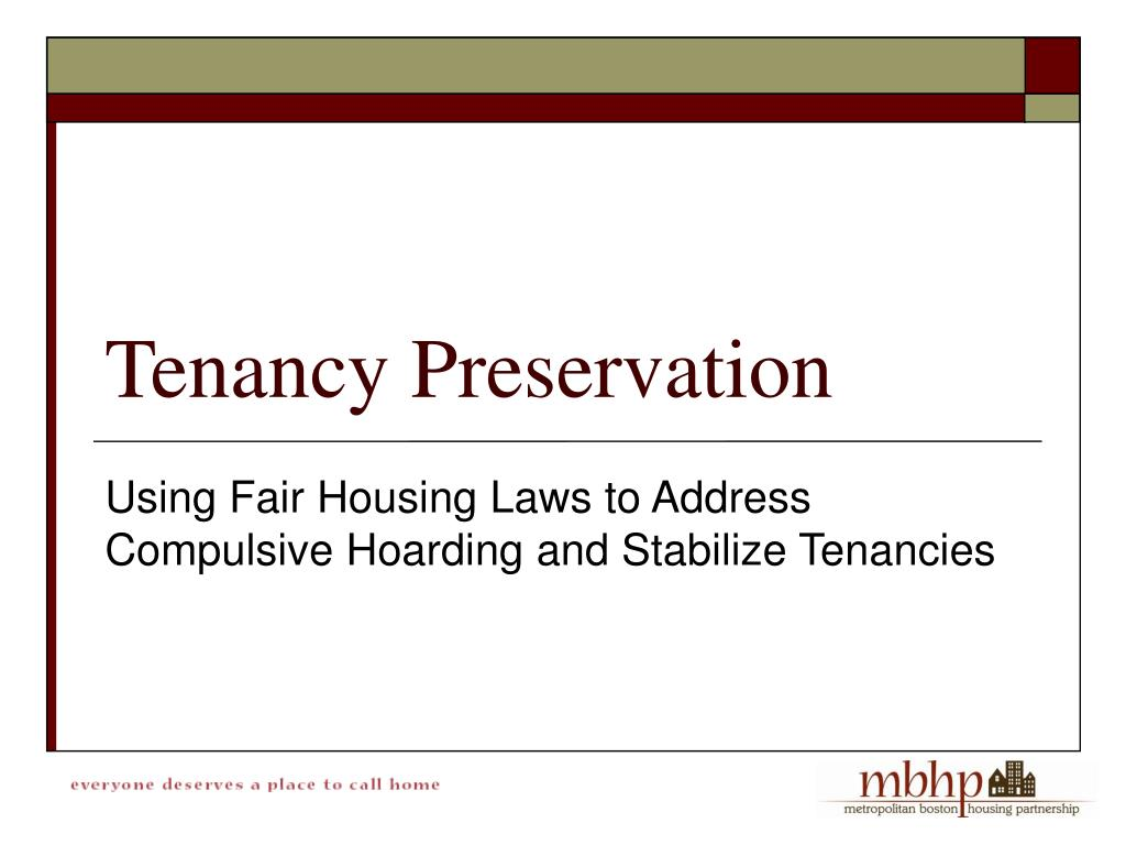 Using Fair Housing Laws to Address Compulsive Hoarding and Stabilize Tenancies