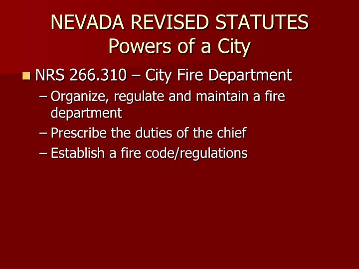 Nevada revised statutes powers of a city