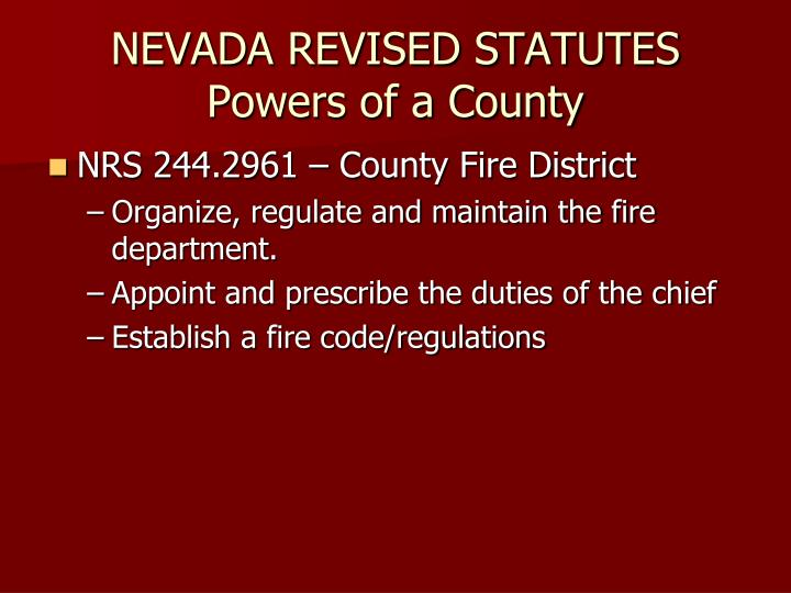 Nevada revised statutes powers of a county